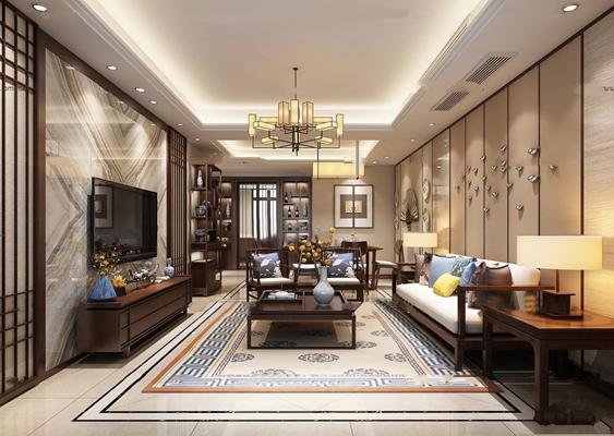 中式客厅餐厅过道组合3D模型