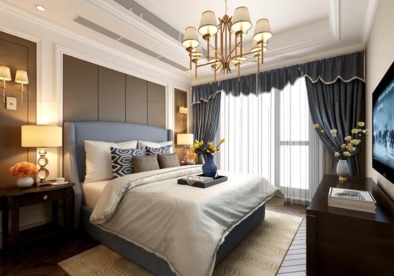 美式卧室双人床3D模型