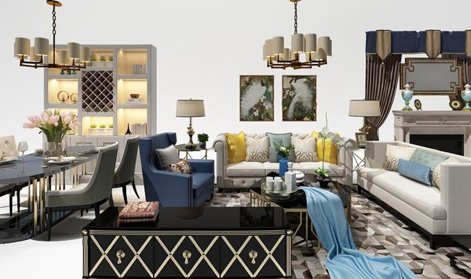 美式沙发餐桌椅壁炉组合3D模型