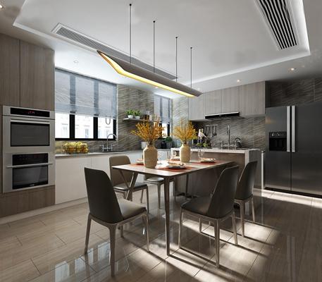 现代厨房餐厅3D模型