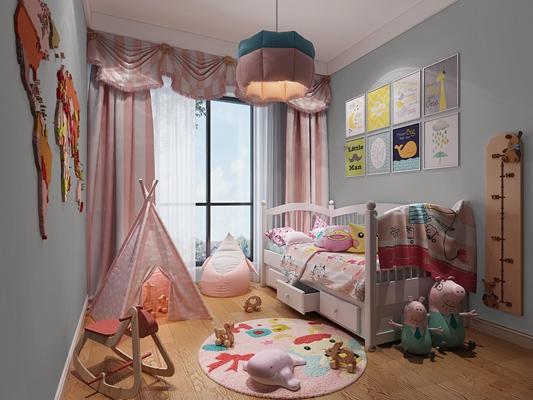 现代儿童房女孩卧室3D模型