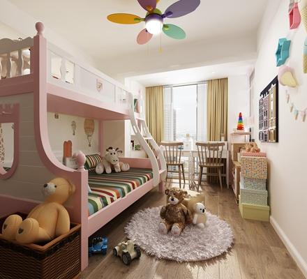 简欧儿童卧室3D模型