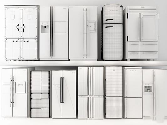 現代双开门冰箱冰柜组合3D模型