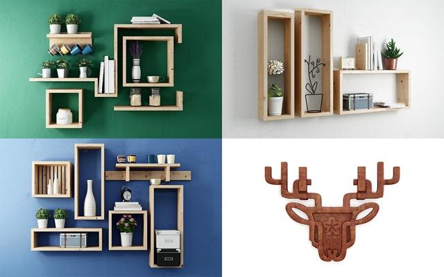 北欧实木装饰柜饰品摆件组合3D模型