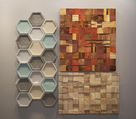 现代实木墙面装饰板组合3D模型