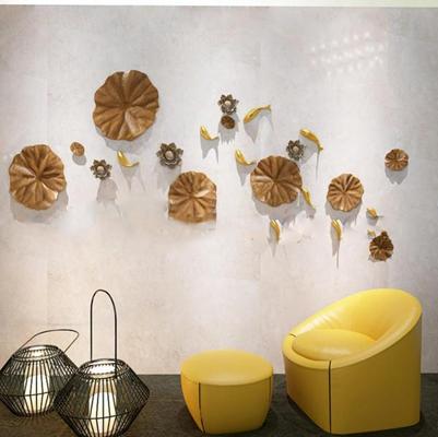 现代荷花鱼群墙饰休闲沙发组合3D模型