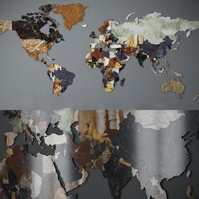 现代世界地图3D模型