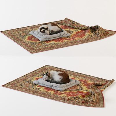 欧式地毯猫咪动物组合3D模型下载