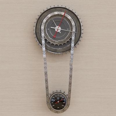 现代工业风齿轮吊钟墙饰3d模型下载