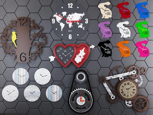 现代彩色兔子齿轮造型挂钟组合3D模型下载