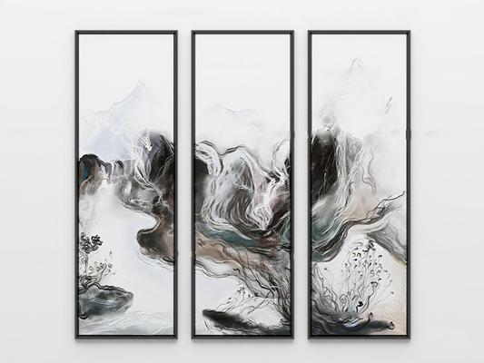新中式抽象艺术水墨装饰画3D模型