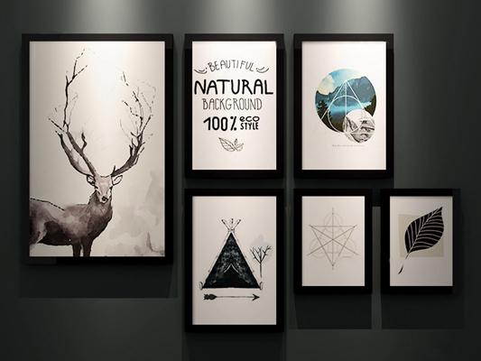 现代北欧手绘挂画组合3D模型