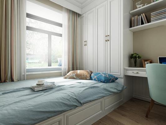 欧式榻榻米卧室3D模型