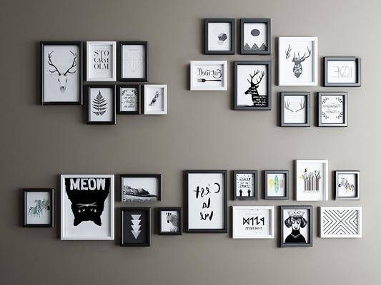 北歐黑白装饰挂画相框组合3D模型