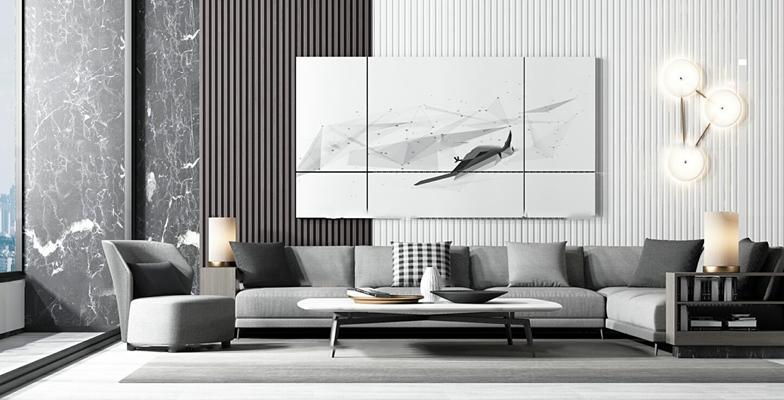 现代转角沙发茶几组合3d模型