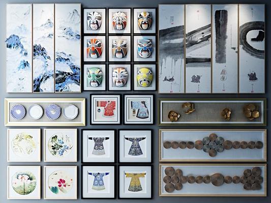 新中式壁画脸谱挂画组合3d模型