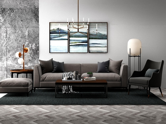 現代沙發休閑椅落地燈組合3D模型