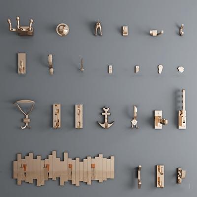 现代金属挂衣钩组合3D模型
