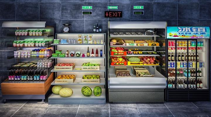 现代商场水果饮料柜保鲜柜3D模型【ID:17192623】