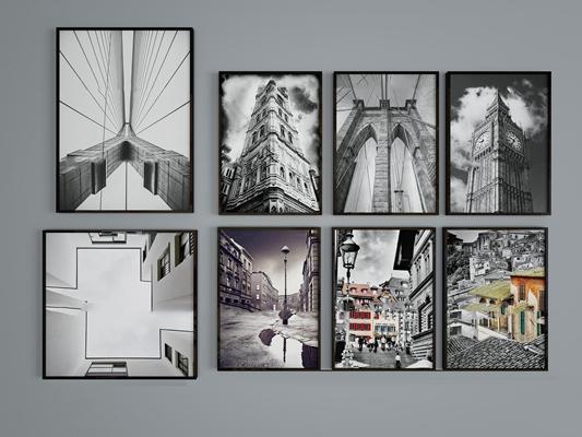 现代黑白建筑装饰画组合3D模型