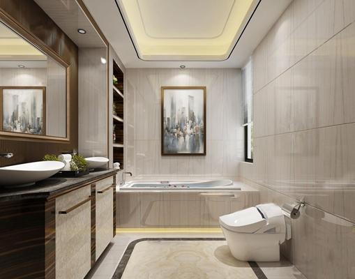现代卫浴空间3D模型【ID:17206367】