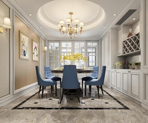 欧式客厅餐厅3D模型