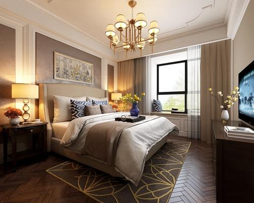 美式简约卧室3d模型
