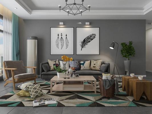 北欧布艺沙发休闲椅茶几吊灯组合3D模型