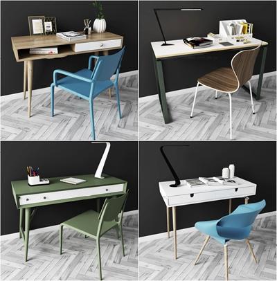 北歐書桌椅組合3d模型