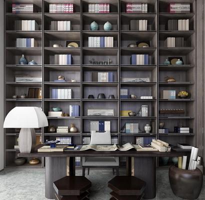 中式实木书柜书桌椅书籍台灯摆件组合3D模型