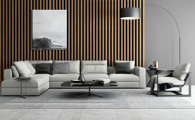 现代转角沙发茶几落地灯摆件组合3D模型【ID:17233700】