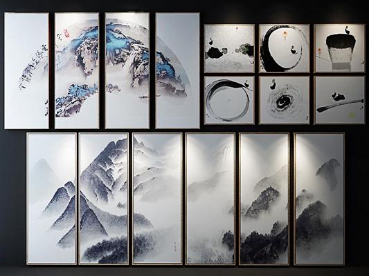 新中式山水画挂画多联3D模型
