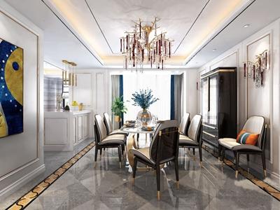 后现代奢华餐厅 后现代餐厅 餐桌 餐椅 吧台 装饰柜 吊灯 壁灯