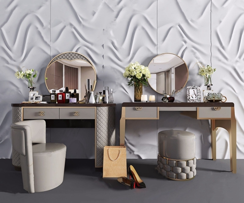 现代轻奢梳妆台 现代梳妆台 凳子 梳妆镜 花艺 花瓶 化装品 背景墙