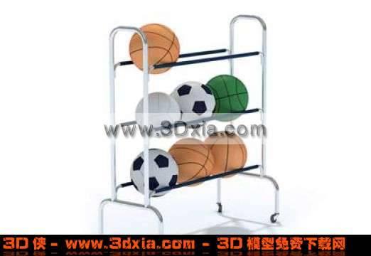 几个普通的球和球架3D模型