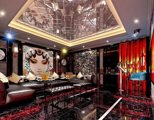 中式KTV包房 中式娱乐会所 包房 多人沙发 抱枕 壁灯 卡座 吊灯 餐台 啤酒 杯子 电视