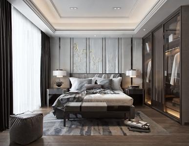 新中式卧室 新中式卧室 双人床 床头柜 床尾凳 衣柜 床头灯 床品 衣服 床头背景墙