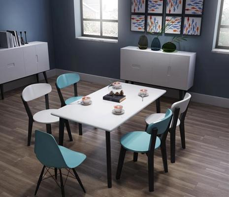北欧风格宜家现代简约餐桌椅餐边柜家具组合 现代餐桌椅 边柜 装饰柜 餐具 挂画 单椅 书籍