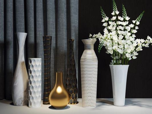 瓶罐花艺装饰摆件 现代花艺 瓶罐 花瓶 绿植 现代花艺 瓶罐 花瓶 绿植