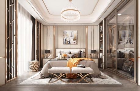 后现代主人房 后现代卧室 床具 落地灯 挂画 衣柜 窗帘 抱枕 地毯 装饰品 床头柜 台灯 主人房