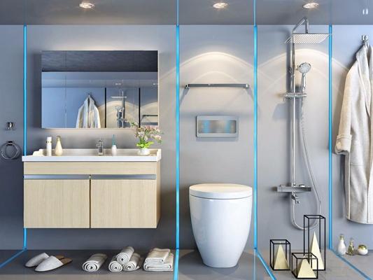 现代浴室家具 现代卫浴用品 洗手台 台盆柜 马桶 浴霸 浴袍 毛巾 拖鞋