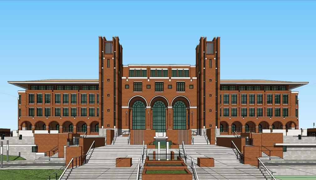 红砖图书馆SU模型