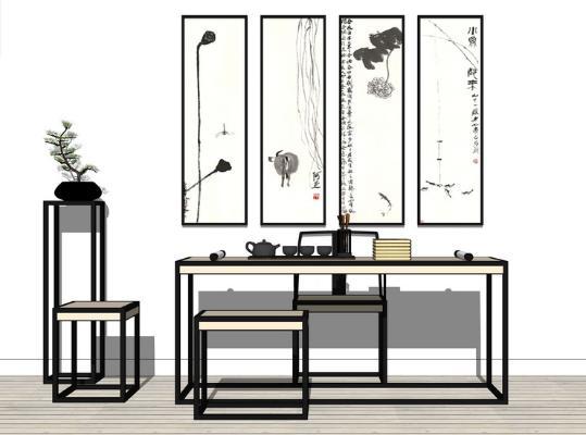 新中式书桌SU模型