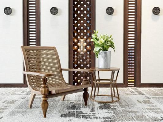东南亚休闲椅组合 东南亚休闲椅 边几 绿植摆件 吊灯