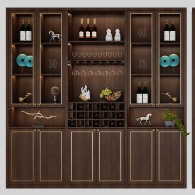 新中式酒柜组合3D模型
