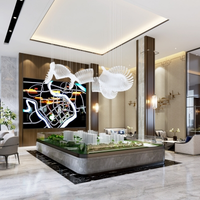 现代售楼处接待区3D模型