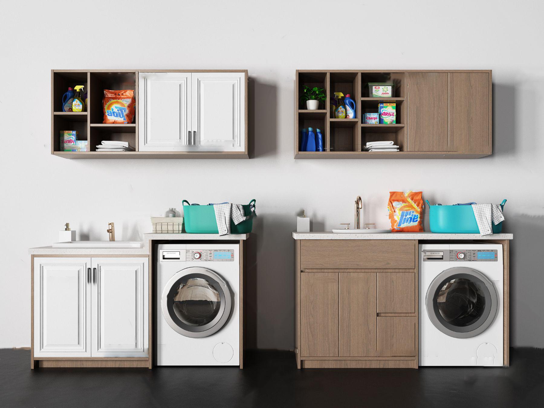 现代洗涤柜架洗衣机组合3d模型