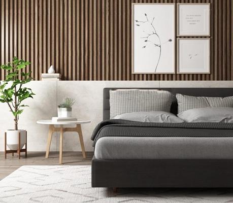 北欧卧室组合 北欧床具 角几 装饰画 植物 摆件 地毯 床品
