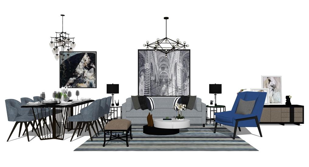 现代简约风格客厅餐厅家具组合SU模型