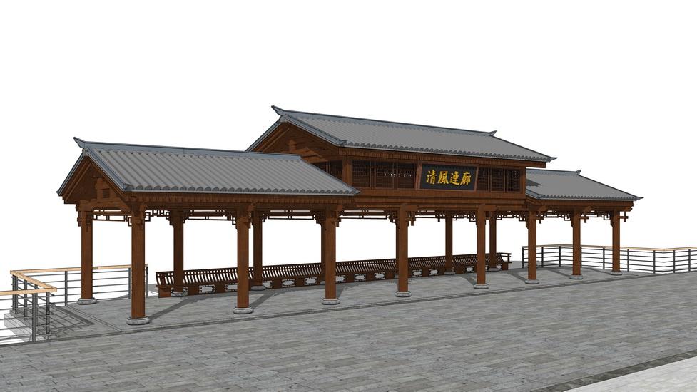 中式连廊SU模型